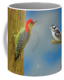 Soft Art Portrait Of Red Bellied Woodpecker And A Young Downy Wo Coffee Mug