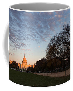 Soft Orange Glow - U S Capitol And The National Mall At Sunset Coffee Mug
