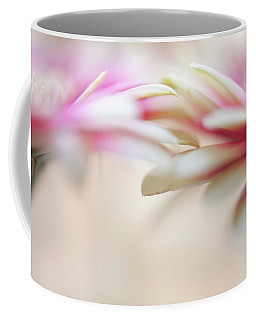 Coffee Mug featuring the photograph Soft Touch. Macro Gerbera by Jenny Rainbow