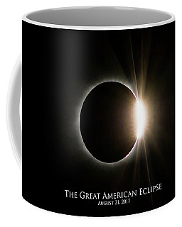 Coffee Mug featuring the photograph Solar Eclipse Diamond Ring With Text by Lori Coleman