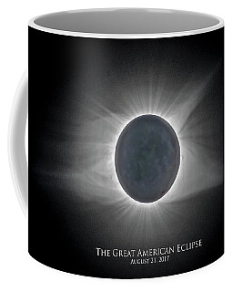 Coffee Mug featuring the photograph Solar Eclipse With Moon Detail And Text by Lori Coleman