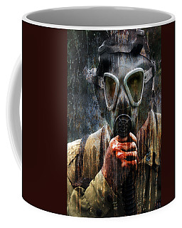 Soldier In World War 2 Gas Mask Coffee Mug by Jill Battaglia