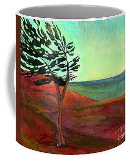 Coffee Mug featuring the painting Solitary Pine by Claire Bull