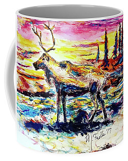 Coffee Mug featuring the painting Solitude Caribou by Monique Faella