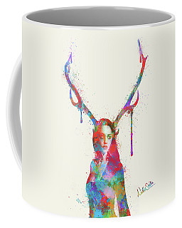Coffee Mug featuring the digital art Song Of Elen Of The Ways Antlered Goddess by Nikki Marie Smith