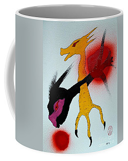 Coffee Mug featuring the painting Sonzai No Tame Ni Tatakau Tane by Pg Reproductions