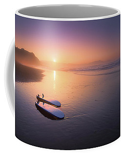 Sopelana Beach With Surfboards On The Shore Coffee Mug