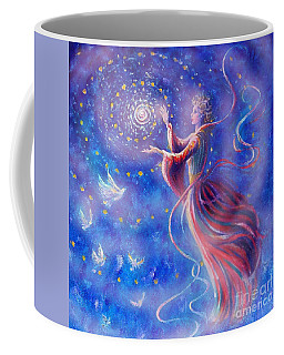 Coffee Mug featuring the mixed media Sophia Finds Wisdom by Dee Davis