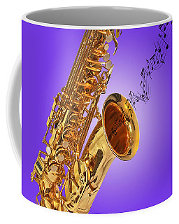 Sounds Of The Sax In Purple Coffee Mug