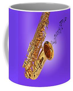 Sounds Of The Sax In Purple Coffee Mug by Gill Billington