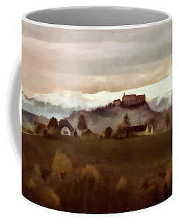 Coffee Mug featuring the painting Southern Styria With Castle Riegersburg by Menega Sabidussi