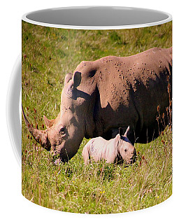 Southern White Rhino With A Little One Coffee Mug by Laurel Talabere