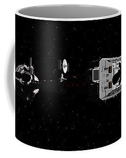 Spaceship Uss Cumberland Traveling Through Deep Space Coffee Mug