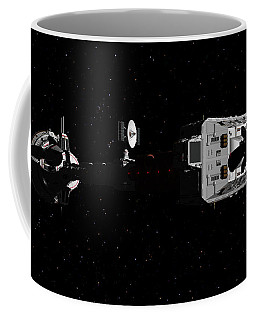 Spaceship Uss Cumberland Traveling Through Deep Space Coffee Mug