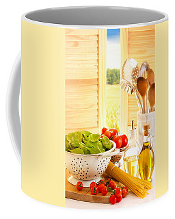 Spaghetti And Tomatoes In Country Kitchen Coffee Mug