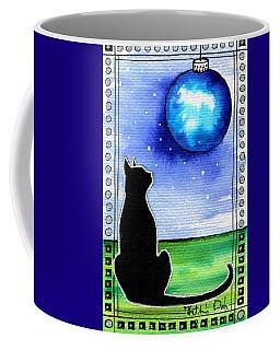 Sparkling Blue Bauble - Christmas Cat Coffee Mug