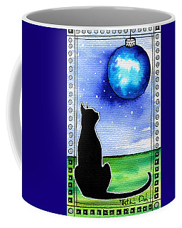 Sparkling Blue Bauble - Christmas Cat Coffee Mug