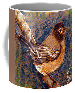 Coffee Mug featuring the painting Sparrow Moment by Jasna Dragun