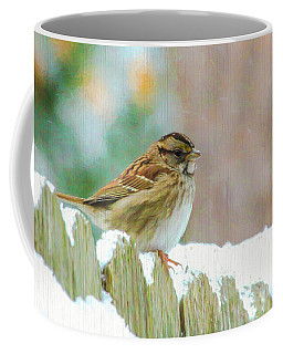 Coffee Mug featuring the photograph Sparrow On A Snowy Day  by Ola Allen