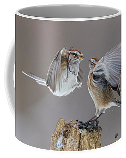 Coffee Mug featuring the photograph Sparrows Fight by Mircea Costina Photography