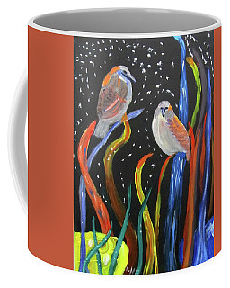 Coffee Mug featuring the painting Sparrows Inspired By Chihuly by Linda Feinberg