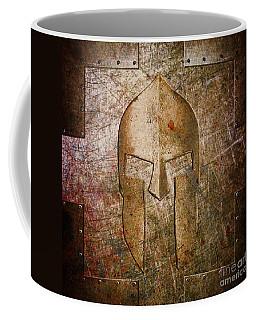 Spartan Helmet On Metal Sheet With Copper Hue Coffee Mug