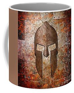 Spartan Helmet On Rusted Riveted Metal Sheet Coffee Mug