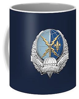 Special Operations Weather Team -  S O W T  Badge Over Blue Velvet Coffee Mug by Serge Averbukh