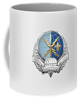 Special Operations Weather Team -  S O W T  Badge Over White Leather Coffee Mug by Serge Averbukh