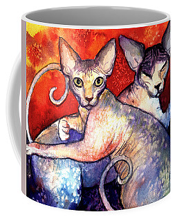 Sphynx Cats Sphinx Family Painting  Coffee Mug