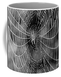 Spider In A Dew Covered Web - Black And White Coffee Mug