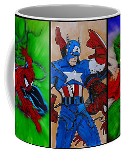 Coffee Mug featuring the drawing Spider-man Collage  by Justin Moore