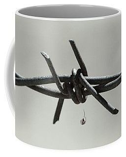 Spider On Barbed Wire In Black And White Coffee Mug