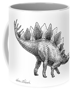 Coffee Mug featuring the drawing Spike The Stegosaurus - Black And White Dinosaur Drawing by Karen Whitworth