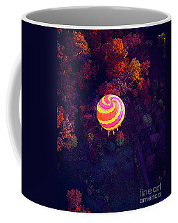Spiral Colored Hot Air Balloon Over Fall Tree Tops Mchenry   Coffee Mug
