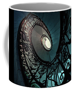 Coffee Mug featuring the photograph Spiral Ornamented Staircase In Blue And Green Tones by Jaroslaw Blaminsky