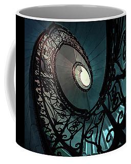 Spiral Ornamented Staircase In Blue And Green Tones Coffee Mug by Jaroslaw Blaminsky