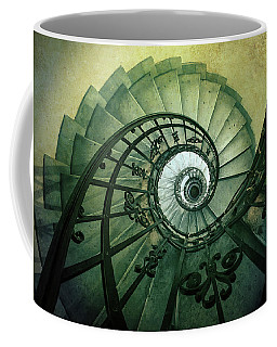 Coffee Mug featuring the photograph Spiral Stairs In Green Tones by Jaroslaw Blaminsky