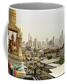 Spirit House And Bangkok's Skyline Coffee Mug