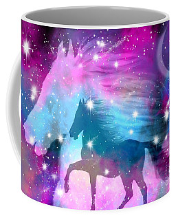 Coffee Mug featuring the drawing Spirit Stallion Midnight Run by Nick Gustafson