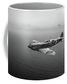 Spitfire En152 Over Gulf Of Tunis Black And White Version Coffee Mug