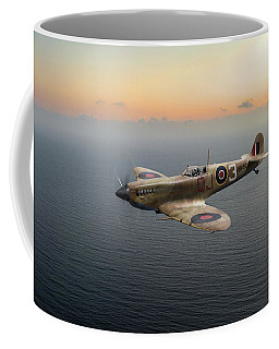 Spitfire En152 Over Gulf Of Tunis  Coffee Mug by Gary Eason