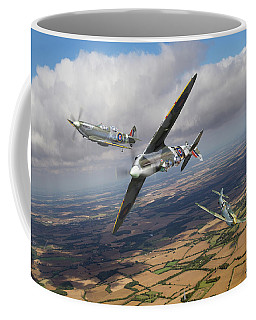 Coffee Mug featuring the photograph Spitfire Tr 9 Fighter Affiliation by Gary Eason