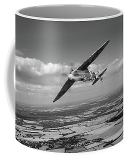 Coffee Mug featuring the photograph Spitfire Tr 9 On A Roll Bw Version by Gary Eason