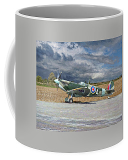 Spitfire Under Storm Clouds Coffee Mug