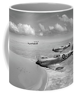 Spitfires Over Tunisia Black And White Version Coffee Mug by Gary Eason