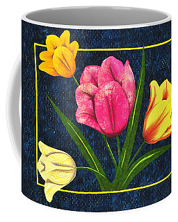 Coffee Mug featuring the tapestry - textile Splash Of Tulips by Jo Baner