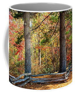Split Rail Fence And Autumn Leaves Coffee Mug