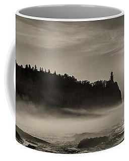 Coffee Mug featuring the photograph Split Rock Lighthouse Emerging Fog by Rikk Flohr