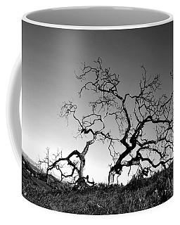 Split Single Tree On Hillside - Black And White Coffee Mug